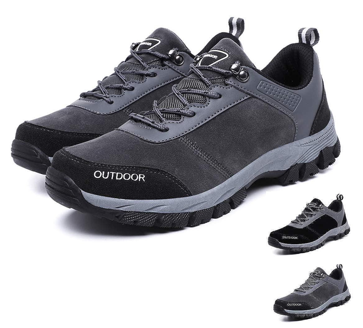Gracosy ChaussuresdeRandonnéeHommes, ChaussuresBasses deMarcheSports Imperméable en Suede BasketsSneakerspour Garçons TrekkingRunningTraining GrisNoir
