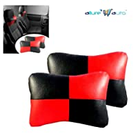 Allure Auto Designer Seat Neck Cushion Pillow for Car (Black And Red)for Maruti Suzuki Swift [2005-2010] VXi ABS