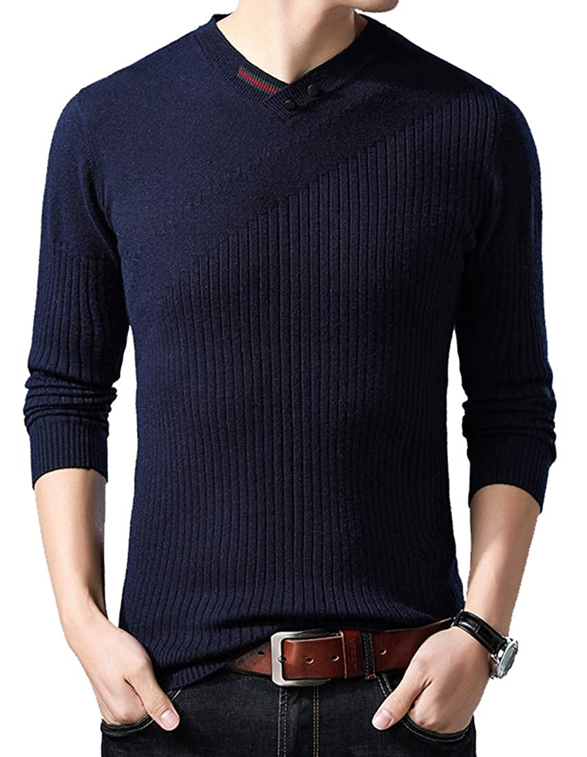 WSPLYSPJY Mens Classic Casual Solid Soft Knitted Long Sleeve V-Neck Pullover Sweater