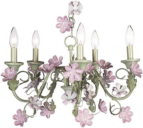 Jubilee Collection 929009 5 Arm Leaf and Flower Chandelier, Pink Green