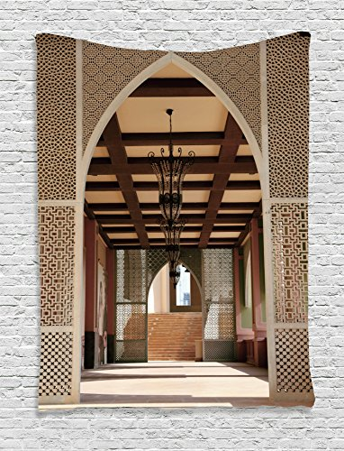 Ambesonne Arabian Decor Collection, Traditional Arabian Architecture in Doha Qatar Middle East Oriental Landmark Hotel Picture, Bedroom Living Room Dorm Wall Hanging Tapestry, Ivory Peru