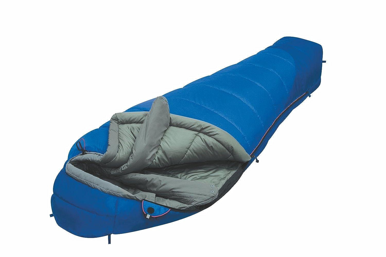 ALEXIKA 9223.0105R Mountain Compact - Saco de dormir (cremallera en el lado derecho, 80 x 210 x 55 cm), color azul y gris: Amazon.es: Ropa y accesorios