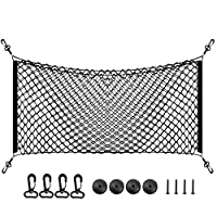 43''x 18'' Large Trunk Storage Net Organizer - Black Flexible Cargo Net with 2 Installation Options for Car SUV GMC Yukon - Universal