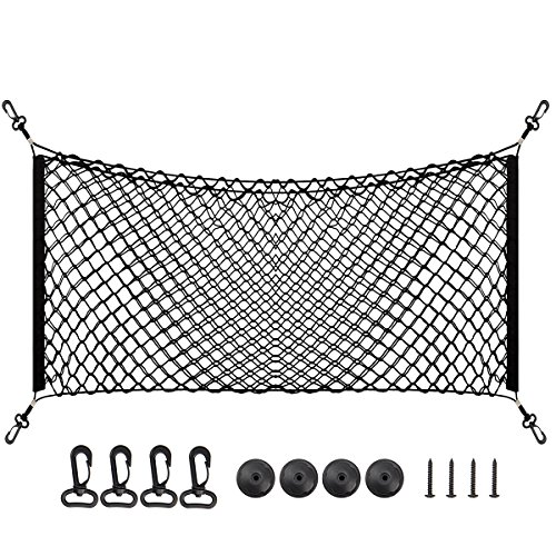 Gmc Cargo - 43''x 17.5'' Large Trunk Cargo Net for SUV GMC Yukon Jeep Toyota - Black Flexible Trunk Organizer Net with 2 Installation Options