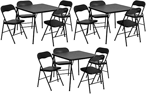 Flash Furniture 5 Piece Black Folding Card Table and Chair Set Pack of 3