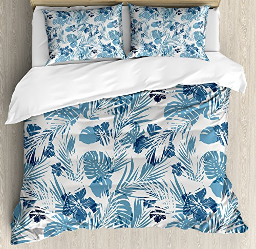 Ambesonne Leaf Duvet Cover Set Queen Size, Island Ocean Beach Sea Inspired Hawaiian Flowers Palm Tree Leaves Art Print, Decorative 3 Piece Bedding Set with 2 Pillow Shams, Dark Blue and Lilac
