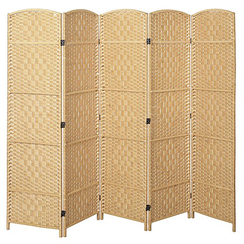 MyGift Handwoven Bamboo 5 Panel Partition Semi-Private Room Divider with Dual Hinges, Beige Center Room Divider Shoji Screen