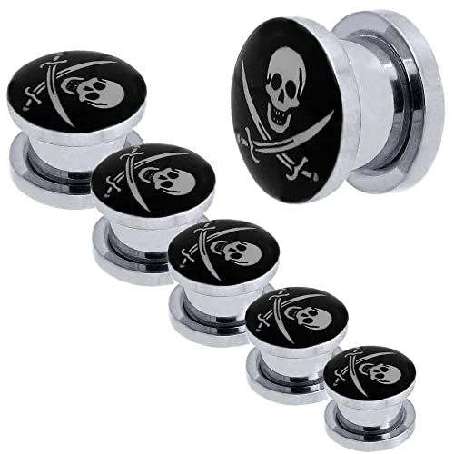1x Set Túnel Dilataciones Acero inoxidable Pendientes Piercing Expansor Stretcher Pirata Negro Ø 3 - 10 mm: Amazon.es: Joyería