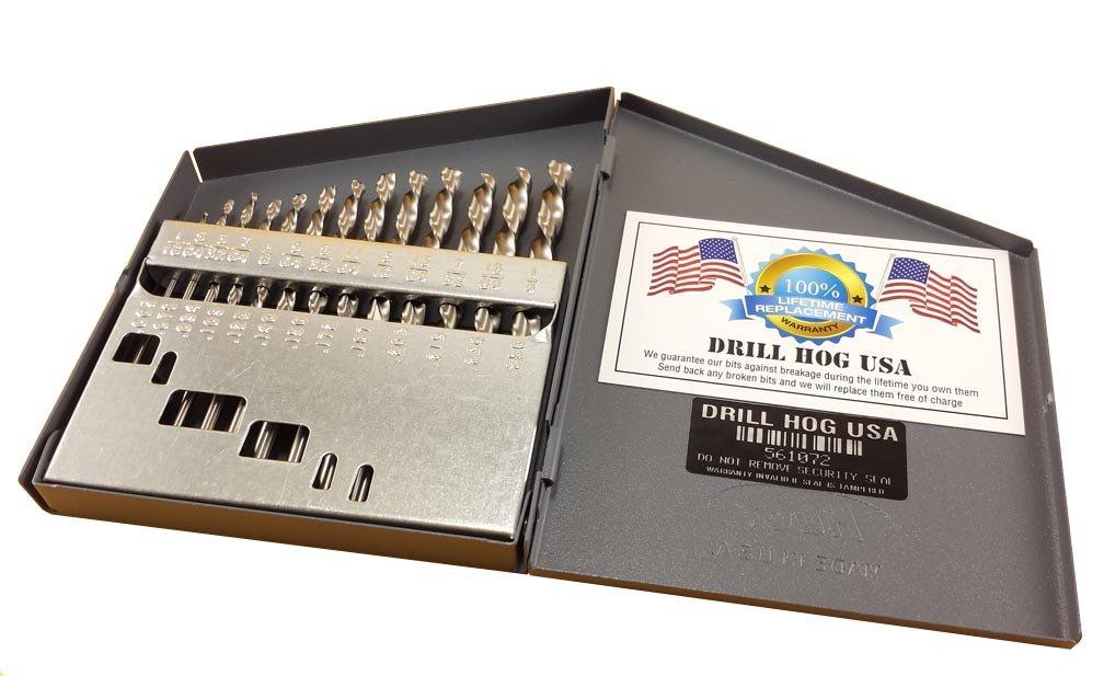 Drill Hog 13 Pc NIOBIUM Left Hand Drill Bit Set Index Drill Bits USA