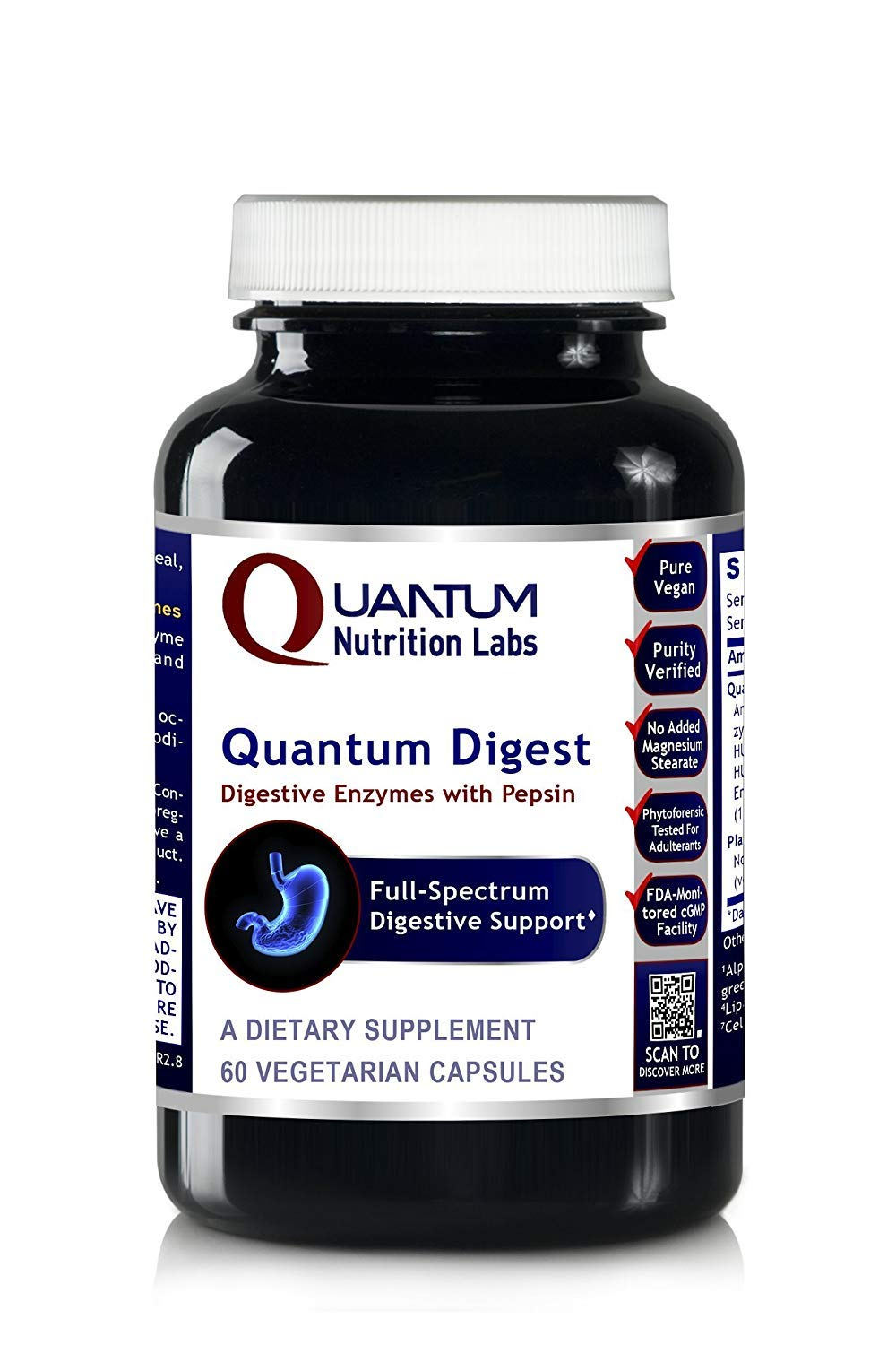 Quantum Digest, 240 Veg caps (4 Bottles) - Vegan Source Enzymes for Full Spectrum Premier Digestive Support for Fats, Carbohydrates, Proteins and Dairy