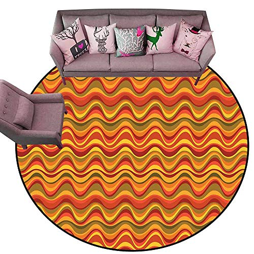 - Living Room Bedroom Carpets Geometric,Desert Dune Pattern Abstract Design Warm Color Palette Funky Old School Art Style,Multicolor Diameter 48