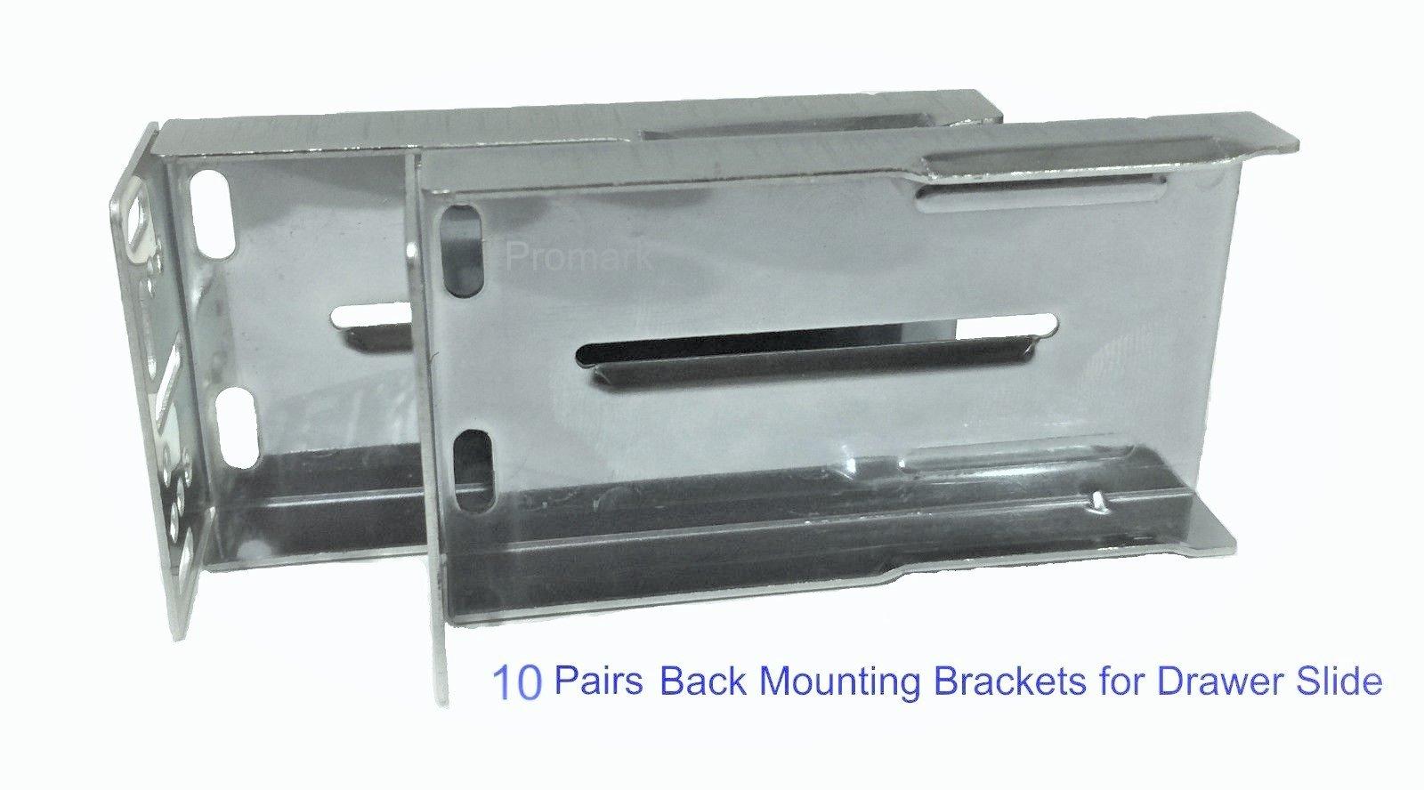Promark Rear Mounting Brackets for Drawer Slides - 10 Pair Pack