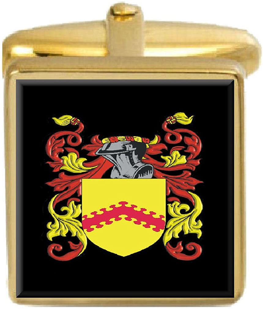 Select Gifts Greves England Family Crest Surname Coat Of Arms Gold Cufflinks Engraved Box