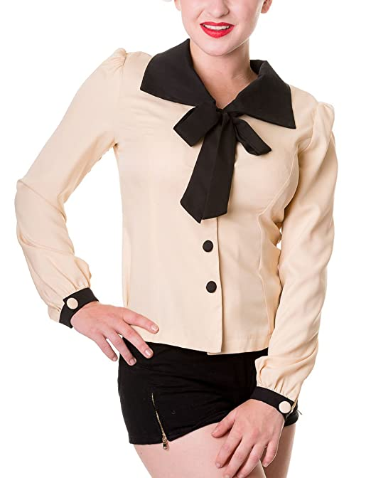 Vintage & Retro Shirts, Halter Tops, Blouses Banned Womens Blouse beige beige £23.65 AT vintagedancer.com