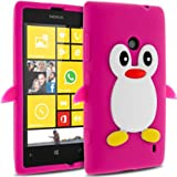 Semoss 3D Pingouin Etui Housse Coque Silicone Cover pour Nokia Lumia 520 Rose