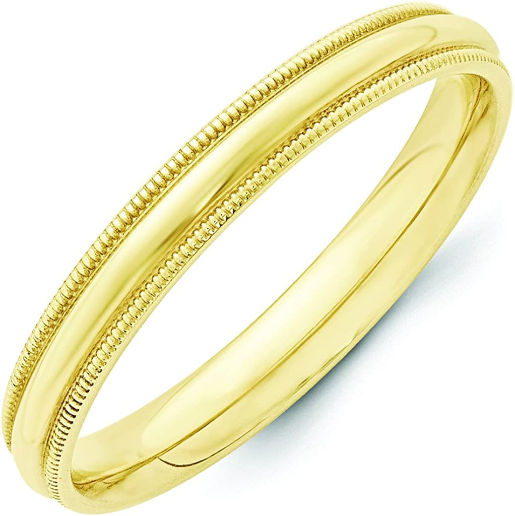 Forever Flawless Jewelry 10K Yellow Gold 3mm Milgrain Domed Comfort Fit Wedding Band
