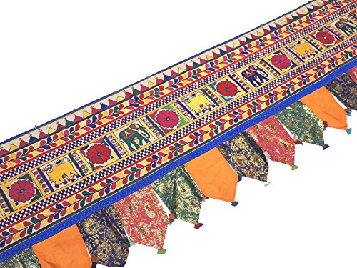 Extra Long Window Valance - 204 inch Hand Embroidered Indian Toran Decoration by NovaHaat