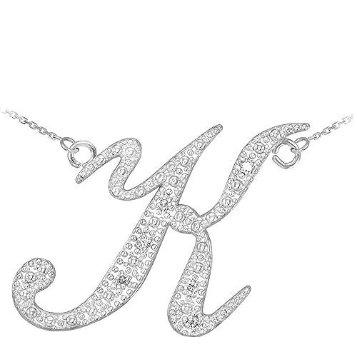 Double-Mounted 14k White Gold Diamond Script Initial Letter K Pendant Necklace