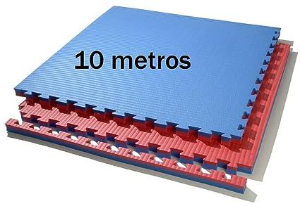 b2977b725be 10 m. Cuadrados de tatami (rojo azul) de grosor 2 cm. medida 1 x 1 m ...