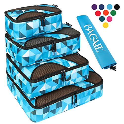 4 Set Packing Cubes,Travel Luggage Packing Organizers with Laundry Bag Geomtry