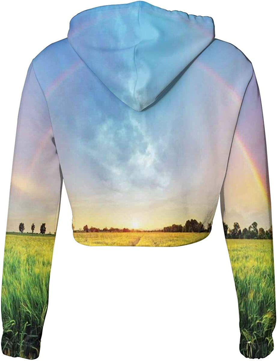 Womens Cropped Hoodie,Rainbow in Sky Over Wheat Field at Sunset Natural Paradise Rural Life Illustration,S-XL