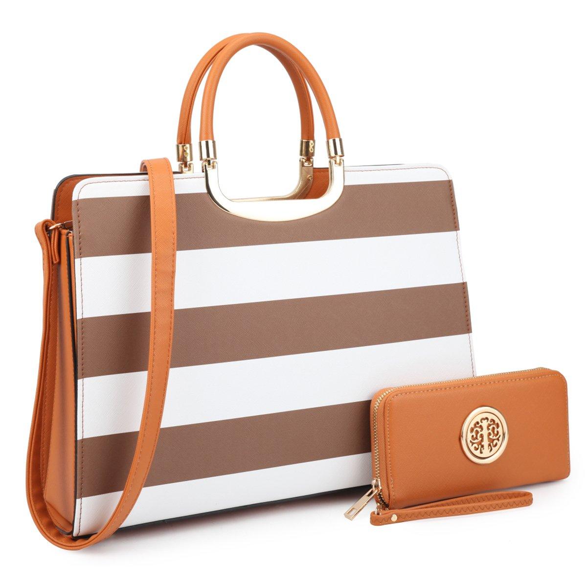 Designer Women Laptop Briefcase, Large Handbag for Lady PU Leather Satchel Lightweight Tote Summer Cross-Body Purse 02-2828 CF/WT