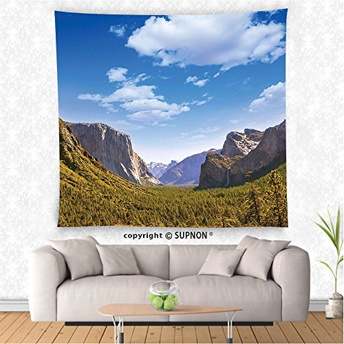 VROSELV custom tapestry Farm House Decor Tapestry Wall Hanging Yosemite El Capitan and Half Dome in California National Parks US Summertime View Bedroom Living Room Dorm Decor Green (Cowboy Dome Lunch Box)