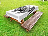 Ambesonne Kraken Outdoor Tablecloth, Cthulhu Monster Evil Fictional Cosmic Monster in Woodblock Style Illustration Print, Decorative Washable Picnic Table Cloth, 58 X 84 inches, Black White