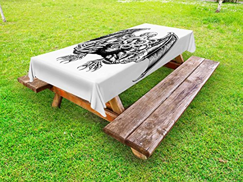 (Ambesonne Kraken Outdoor Tablecloth, Cthulhu Monster Evil Fictional Cosmic Monster in Woodblock Style Illustration Print, Decorative Washable Picnic Table Cloth, 58 X 84 Inches, Black White)
