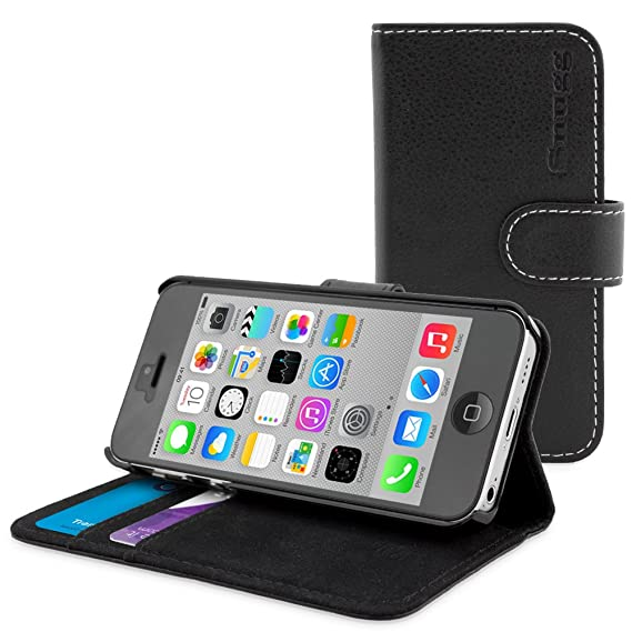 quite nice 4336f 3efad iPhone 5C Case, Snugg Black Leather Flip Case [Card Slots] Executive Apple  iPhone 5C Wallet Case Cover and Stand - Legacy Series