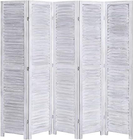 Tidyard - Biombo divisorio para Interiores, para casa, Hotel, Oficina, biombo Plegable, 5 Partes de Madera, 175 x 165 cm, Color Gris: Amazon.es: Hogar