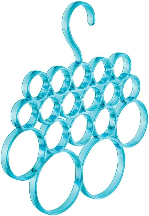 iDesign Fresh 18-Loop Scarf Holder Aqua