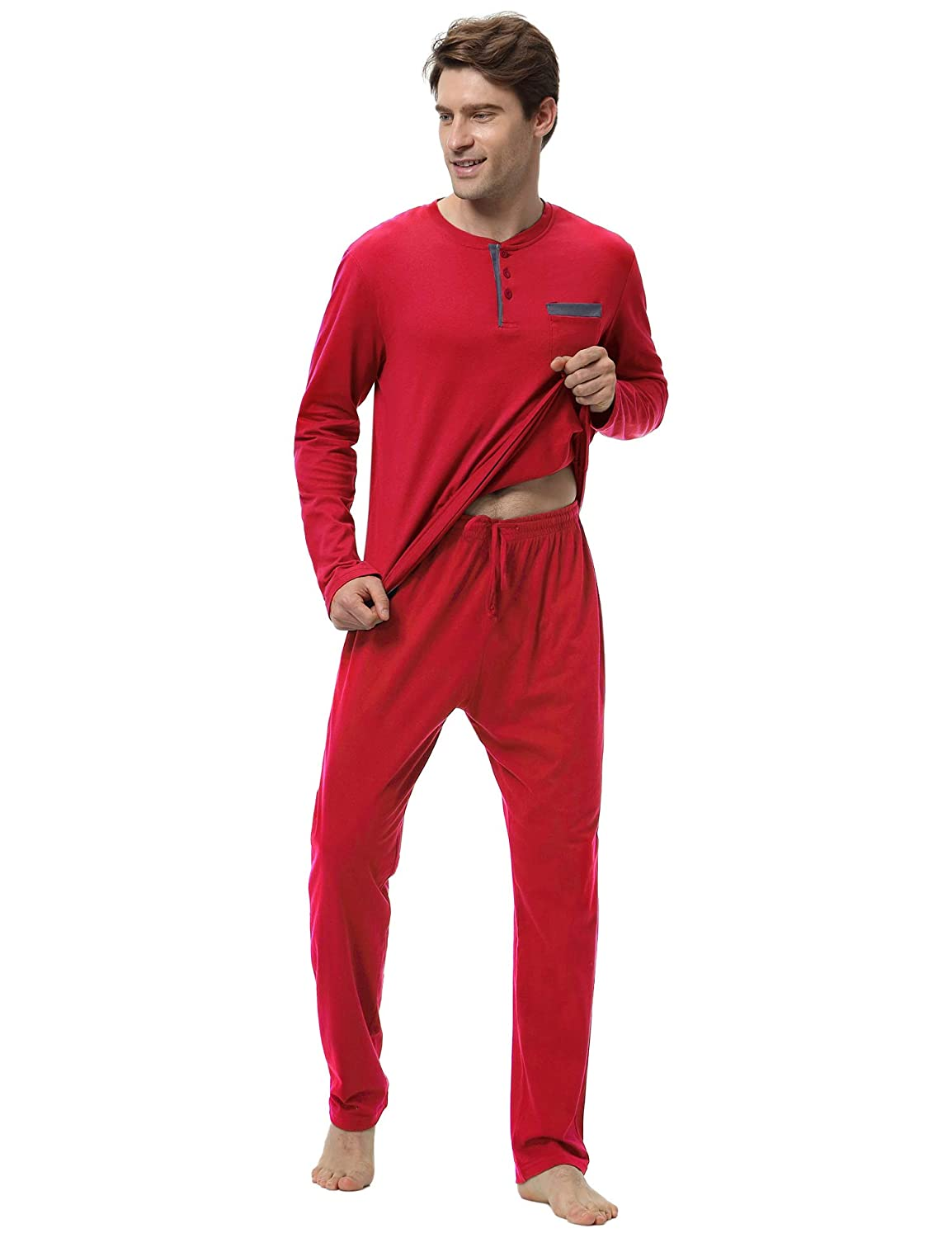 Hawiton Mens Pajama Pants Set 100/% Cotton Long Sleeve Sleepwear Lounge