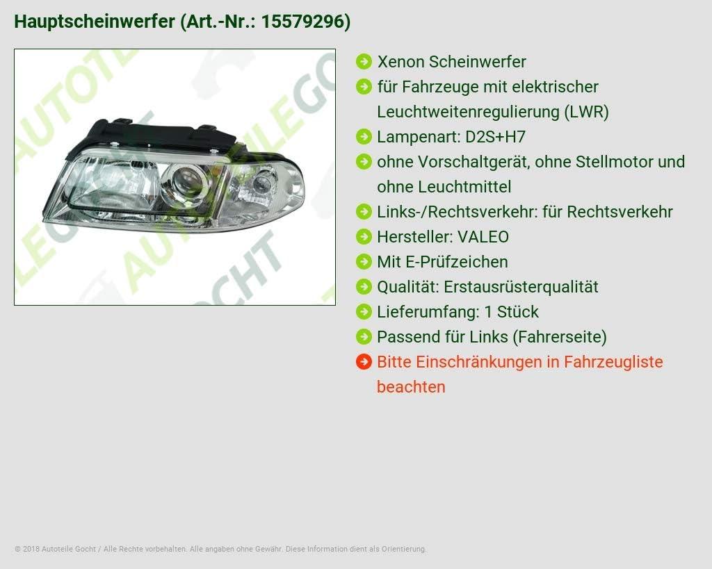 XENON SCHEINWERFER D2S H7 LINKS FÜR 8D0941029AN 087496 87496 VAL87496