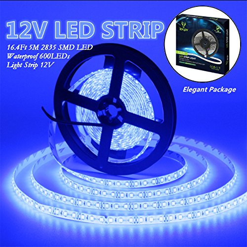 IEKOV Led Strip Lights, trade; 2835 SMD 600LEDs Waterproof Flexible Xmas Decorative Lighting Strips, LED Tape, 5M 16.4Ft DC12V, 3 times brightness than SMD 3528 LED Light Strip (Blue)