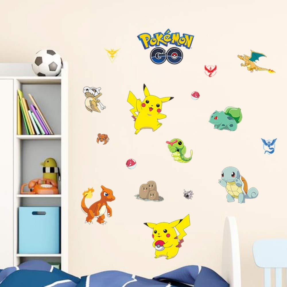 Amazon.com: Bdhnmx Pokemon Go Decorative Wall Stickers for Kids Nursery Room Decor DIY Pocket Monster Pikachu Wall Decorations PVC Mural Art Decals: Baby