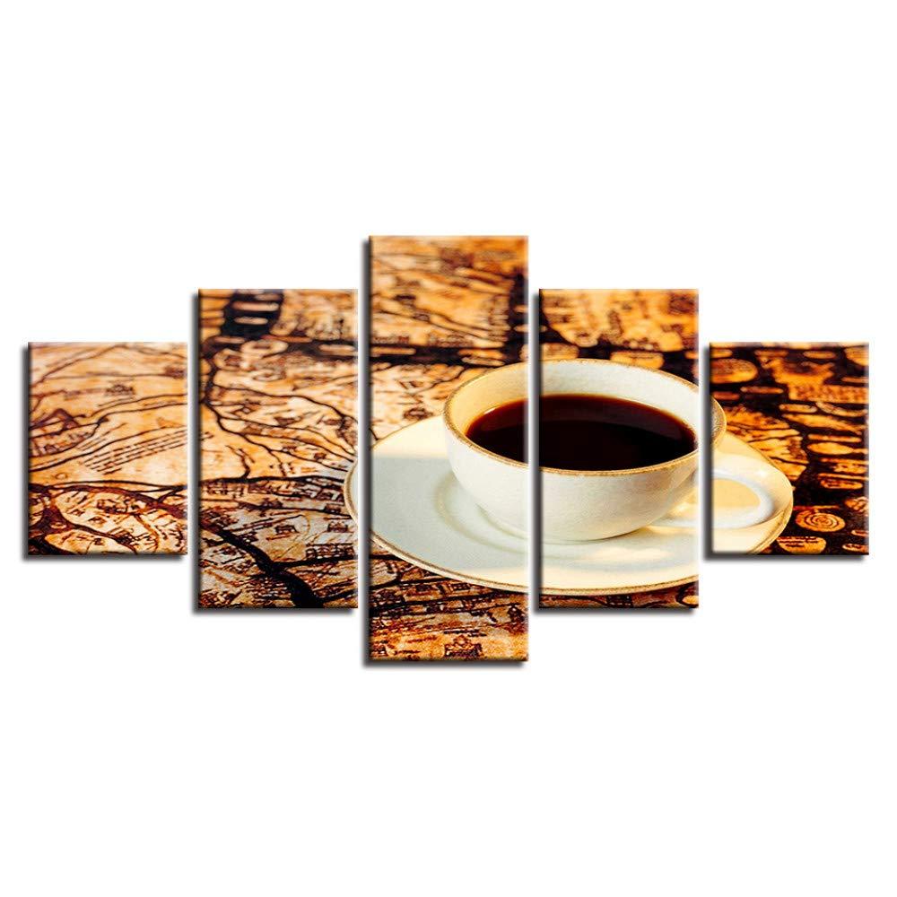 DYDONGWL Still Life Canvas Pictures Artwork 5 5 5 Unidades Café Cartel Pintura Marco Modular Moderno de Impresión Decoración Home Living Room Wall Art e3cb89