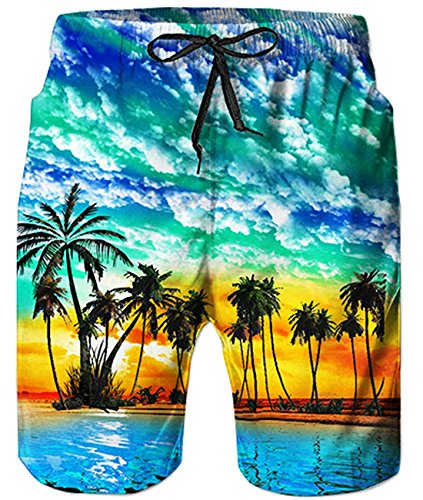 Idgreatim Boys Teens Casual 3D Hawaii Style Graphic Lounge Beach Pants Shorts Surfing Trunks with Drawstring S