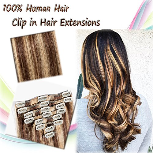 (100% Remy Clip in Hair Extensions Human Hair 22''Long/110g 8pcs Full Head Two Tone Dip-dye Colors Medium Brown Mixed Strawberry Blonde (#4/27) )