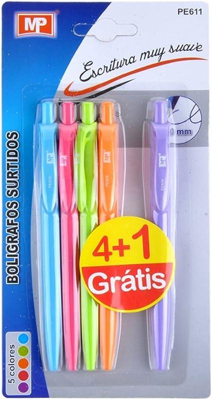 MP PE611 - Pack de 4 +1 bolígrafos, color azul claro/rosa/verde claro/naranja/lila: Amazon.es: Oficina y papelería