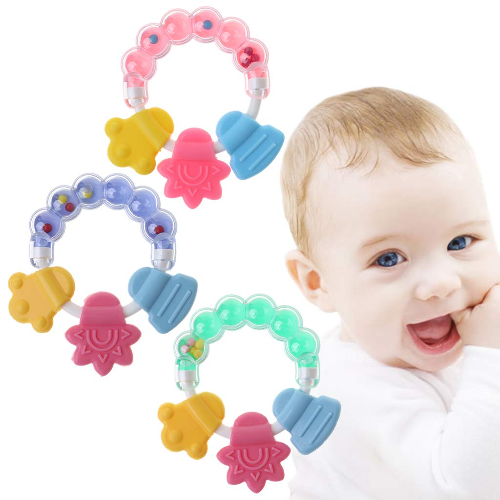 Longsw Teether Bebe Bell Juguetes Educativos Sonajero Dentici/ón Silicona Shake Sonido Jingle