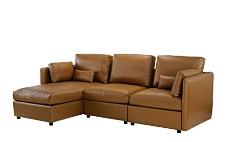 Fine Amazon Com L Shape Living Room Leather Match Sectional Sofa Alphanode Cool Chair Designs And Ideas Alphanodeonline