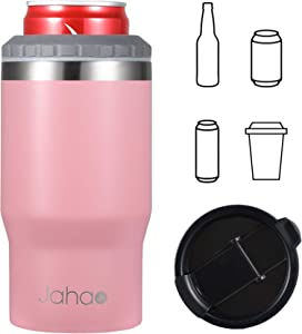 Jahao 4-in-1 Can Cooler/Tumbler, Stainless Steel Double-Wall Vacuum Insulated Beer Cooler/Can Holder/Slim Can Coolers for 12oz Cans, Slim Cans and Beer Bottles, or as a 14oz Travel Mug (Light Pink)