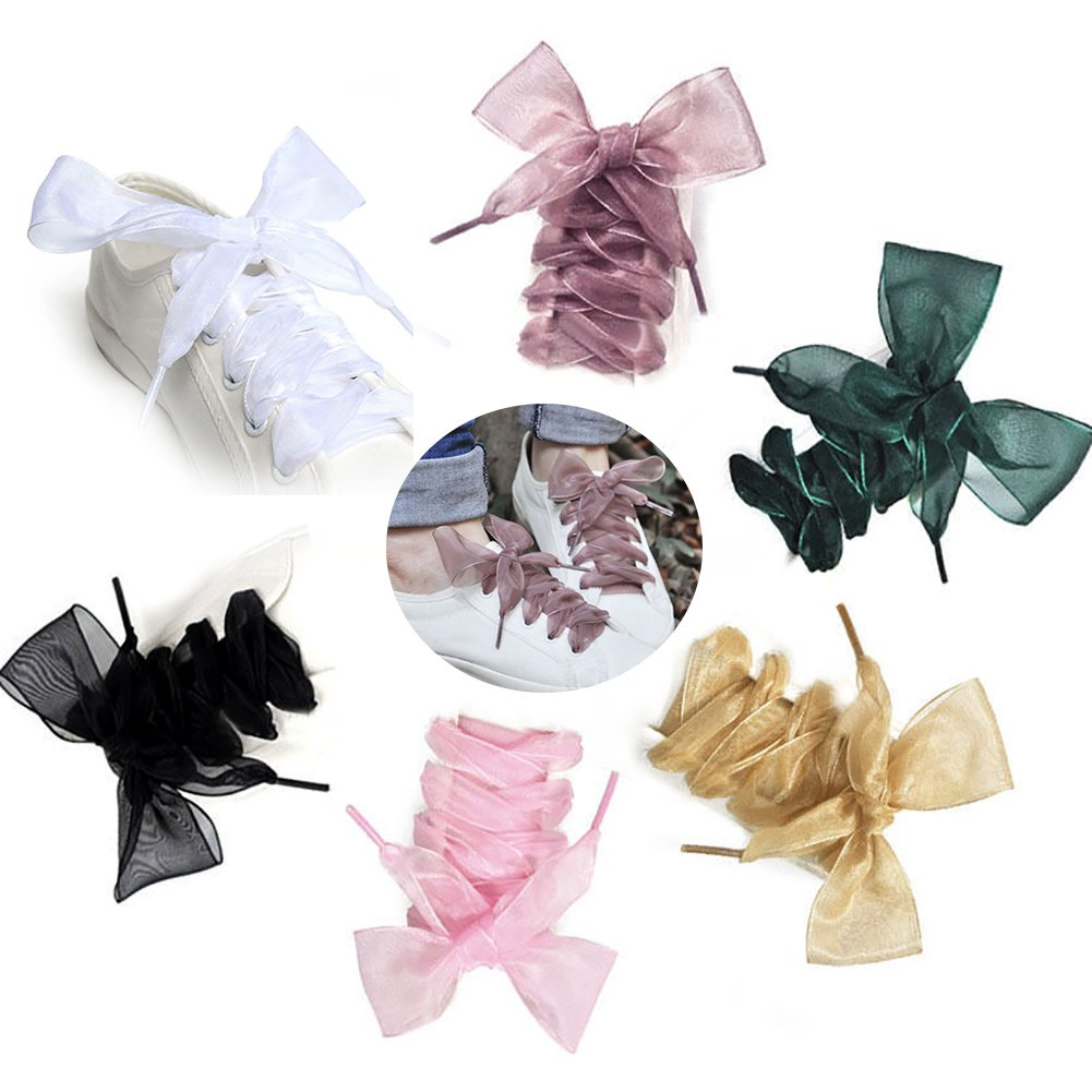 Amazon.com: 1Pair 110cm Fashion Organza Ribbon Sport Shoes Sneakers Bowknot Flat Shoe Laces: Clothing