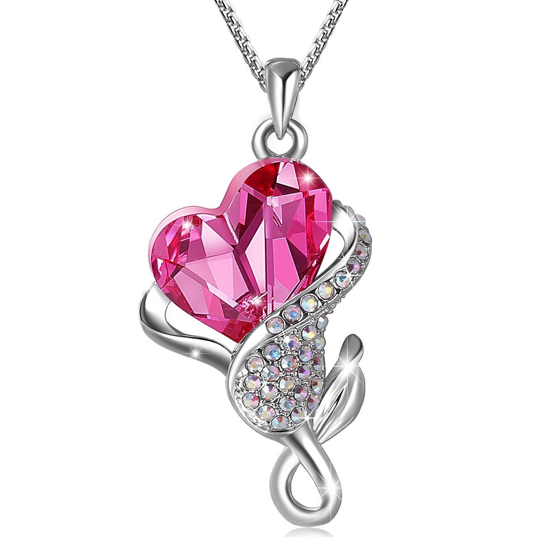 Collar de mujeres Cristales austríacos Colgante de rosa de cristal rosa Chapado