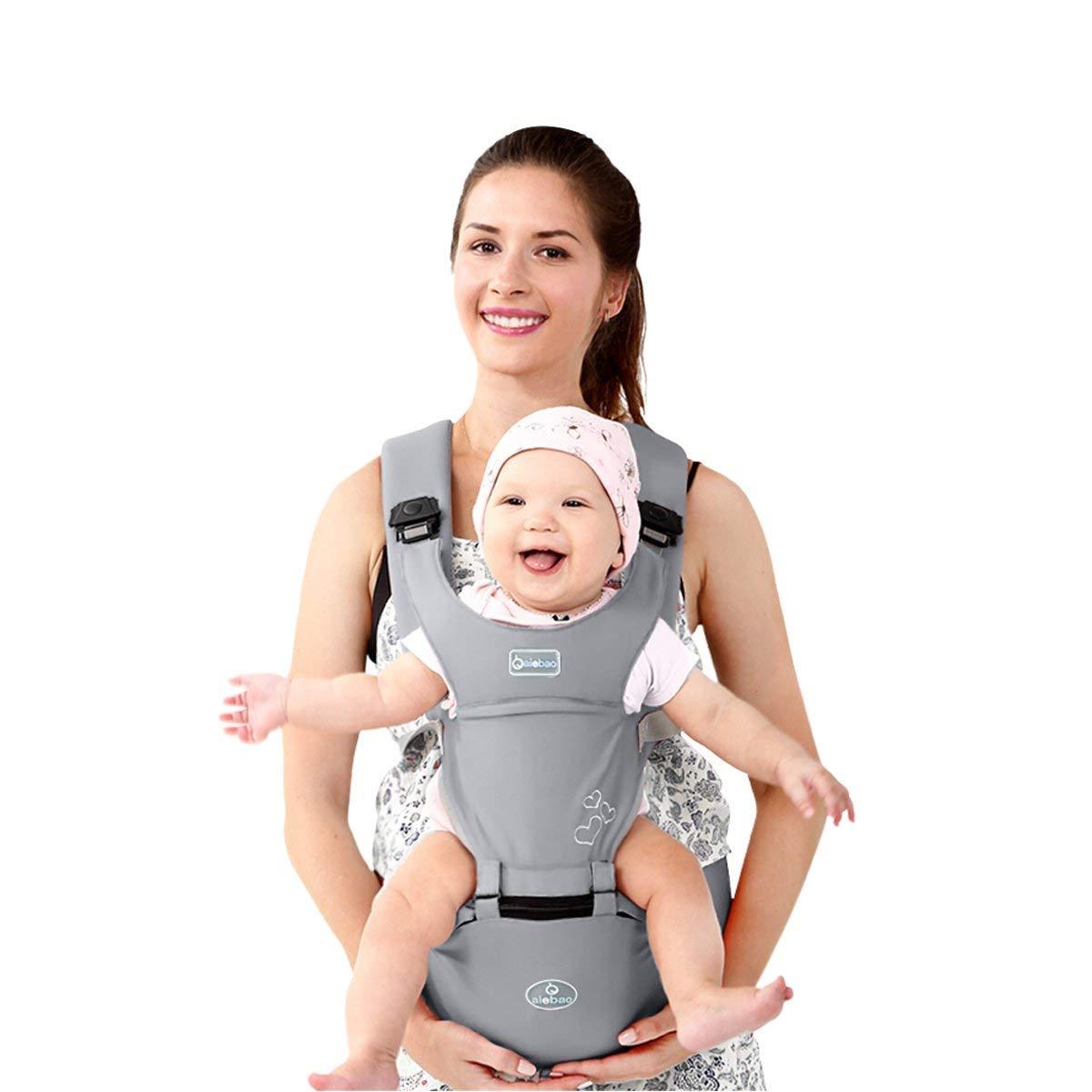 S/ûr et Confortable,cadeau id/éal Ergonomique,100/% Coton Gris Boucle Rotative /à Papillon DaHanBL Front Premium Hipseat Porte-b/éb/é Baby Carrier,Multifonctionnel 6 positions de transport