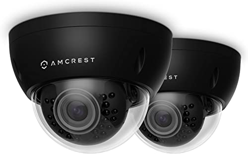 2-Pack Amcrest ProHD Outdoor 3 Megapixel POE Vandal Dome IP Security Camera – IP67 Weatherproof, IK10 Vandal-Proof, 3MP 2048 TVL , IP3M-956E Black