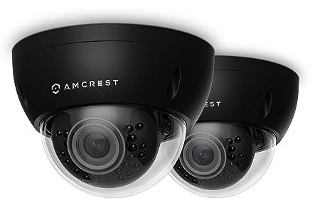 2-Pack Amcrest ProHD Outdoor 3 Megapixel POE Vandal Dome IP Security Camera – IP67 Weatherproof, IK10 Vandal-Proof, 3MP 2048 TVL , IP3M-956E Black