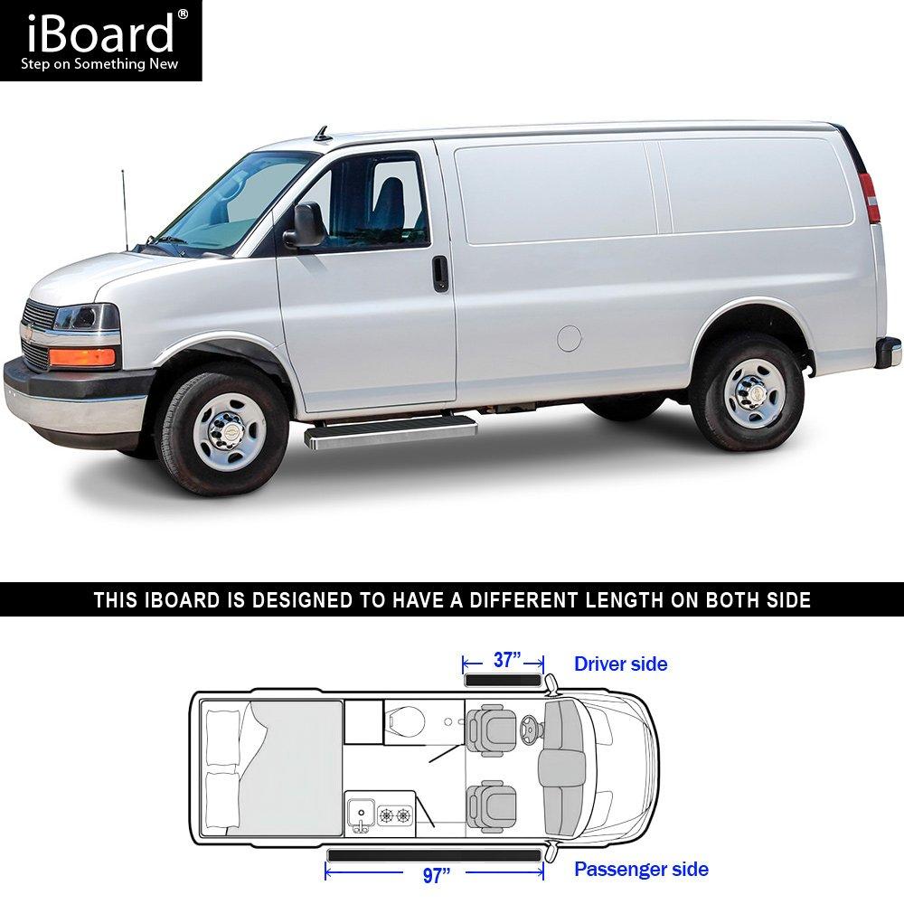 "Premium 6/"" Silver iBoard Side Steps Fit 03-19 Chevy Express GMC Savana"