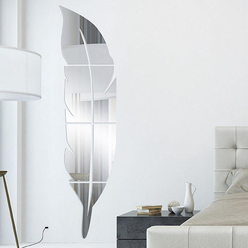 ❤️Pegatinas de pared❤️Dragon868 Extraíble bricolaje pluma espejo pegatinas de pared casa decoración (Negro)